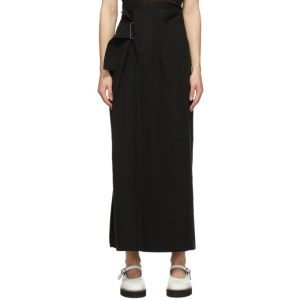 Ys Black Linen and Cotton Asymmetric Long Skirt