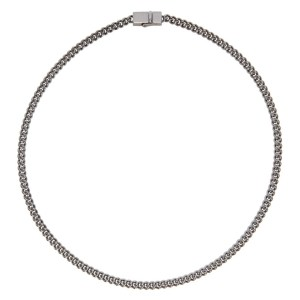 Tom Wood SSENSE Exclusive Gunmetal Thin Rounded Curb Chain Necklace