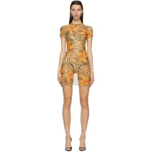 KIM SHUI Orange Mesh Tropic Mini Dress