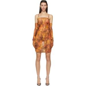 KIM SHUI SSENSE Exclusive Orange Mesh Ruched Mini Dress