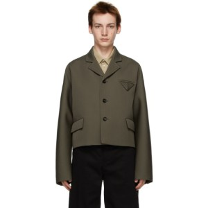 Bottega Veneta Khaki Wool Short Jacket