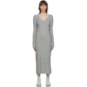 Issey Miyake Grey Wool Rib Knit Dress