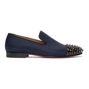 Christian Louboutin Navy and Black Spooky Spike Loafers