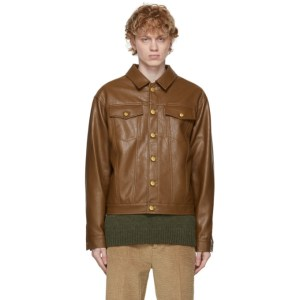 Han Kjobenhavn Brown Faux-Leather Boxy Work Jacket