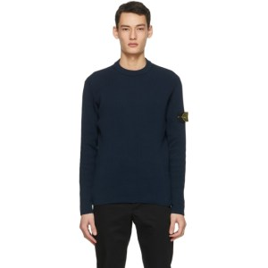 Stone Island Blue Rib Knit Sweater