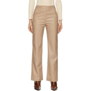 Nanushka Tan Vegan Leather Rhyan Trousers