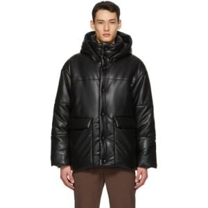 Nanushka Black Vegan Leather Hide Jacket