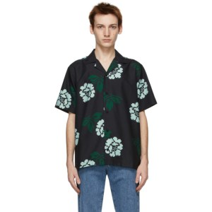 Saturdays NYC Black Canty Rose Short Sleeve Shirt