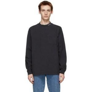 Saturdays NYC Black Dekalb Heavyweight Mockneck Long Sleeve T-Shirt