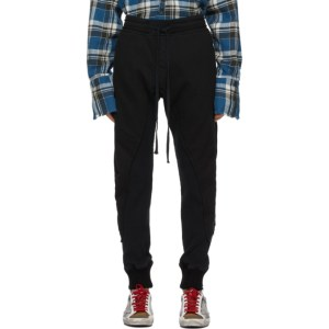 Greg Lauren Black Fleece Waffle 50/50 Lounge Pants