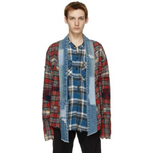 Greg Lauren Red Plaid Kimono Studio Cardigan