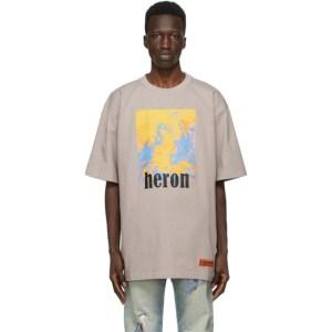 Heron Preston Taupe and Yellow Herons T-Shirt