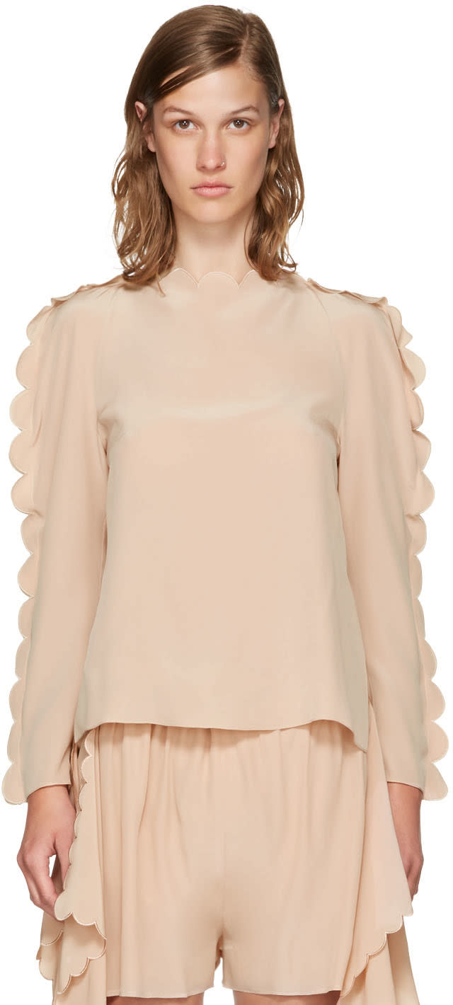 Millennial Pink Scalloped Edge Blouse