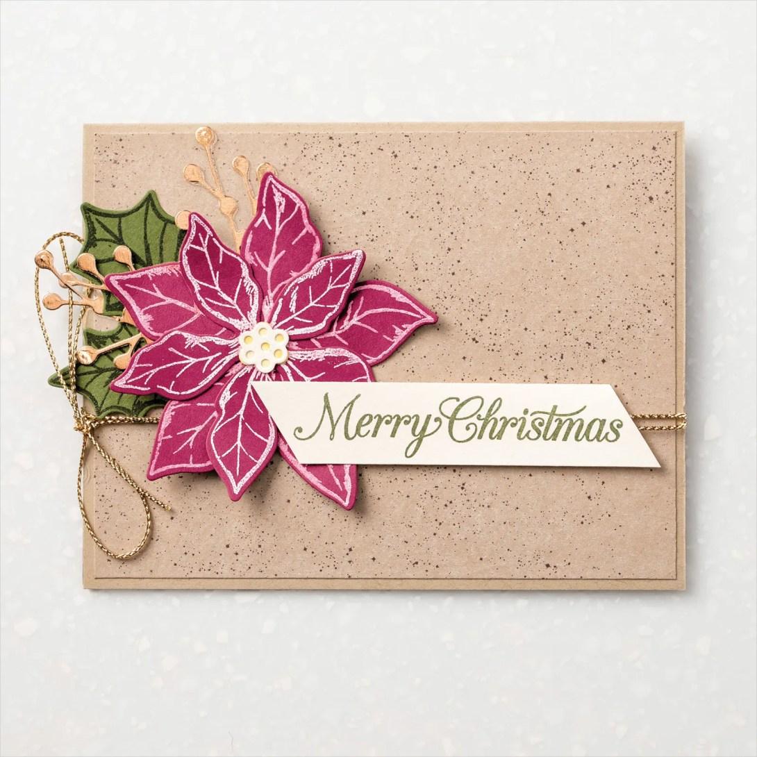 Poinsettia Petals Rustic Heat Embossed Card