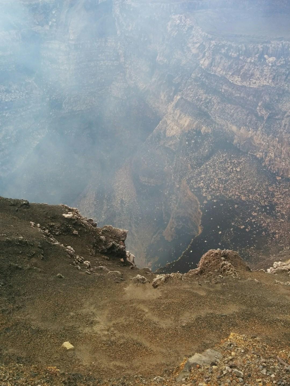 Smoke billowing up from caldera