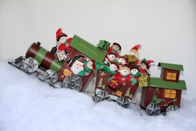 All aboard the train for a ride through the snow