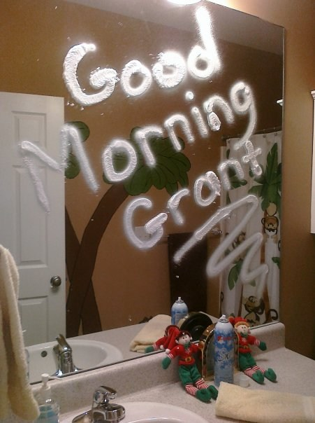 A message left on the bathroom mirror