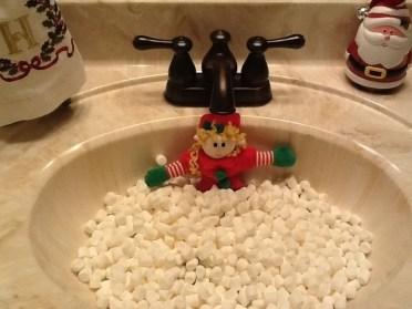 taking a marshmallow bubble bath