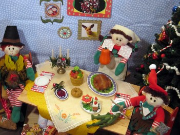 Elves having Thanksgiving dinner