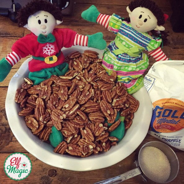 elves in a bowl of pecans