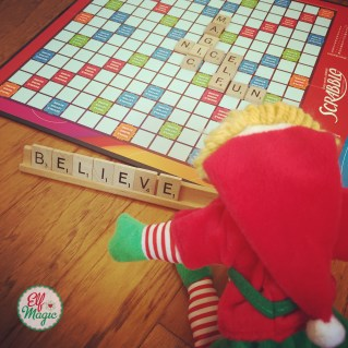 Elf playing Scrabble