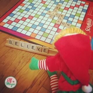 Elf playing Scrabble