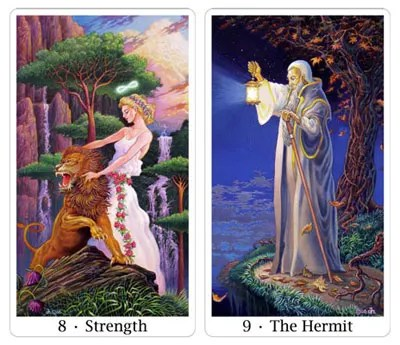 strength and hermit from sacred isle tarot