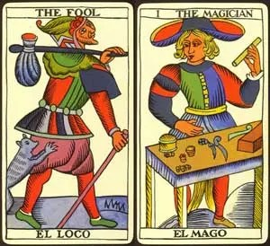 fool and magician from tarot de marseille