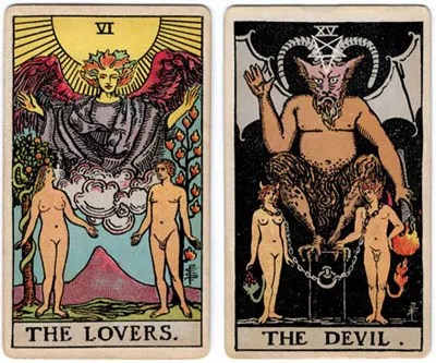 lovers and devil from 1910 rider tarot