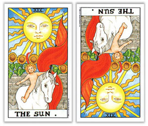 universal rider waite yes no tarot the sun upright and reversed