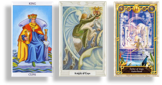 tarot court cards king, knight and father of cups
