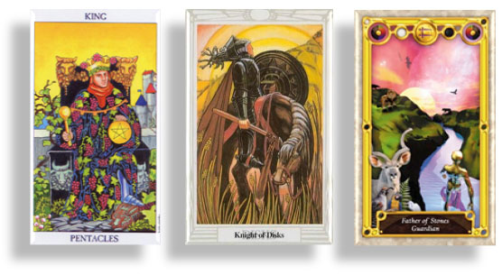 Tarot Court Cards ~ King of Pentacles, Knight of Disks & Father of Stones