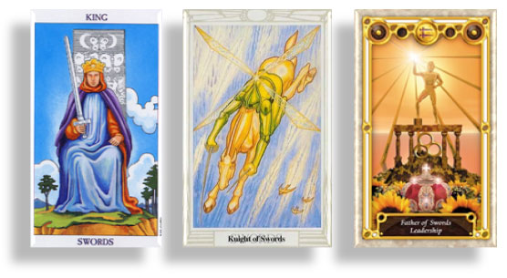 tarot court cards king, knight and father of swords