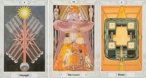 thoth tarot nine of wands, lovers and four of disks
