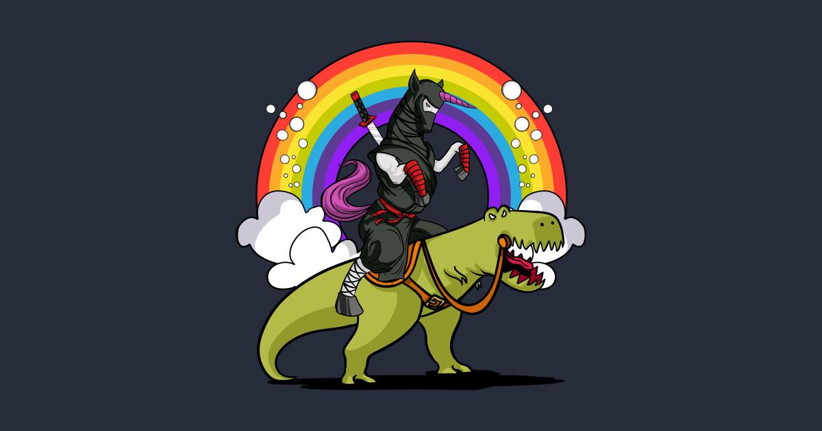 Ninja Unicorn Samurai Riding T Rex Party Dinosaur