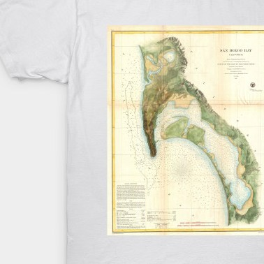 HD Decor Images » Vintage Map of The San Diego Bay  1857    San Deigo Map   T Shirt     1919977 1