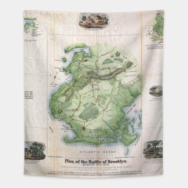 Vintage Battle of Brooklyn NY Map  1867    Brooklyn Map   Tapestry     2013734 1