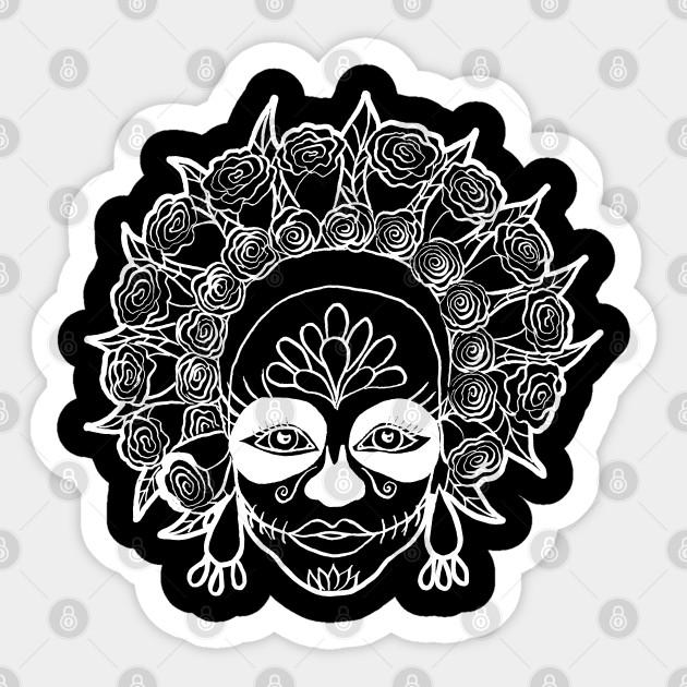 Dia De Muertos Sugar Skull Girl White Outline Sugar Skull Girl Outline Sticker Teepublic