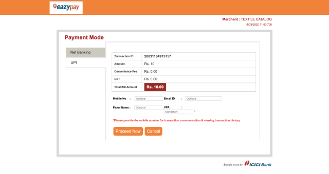 Eazypay ICICI payment gateway