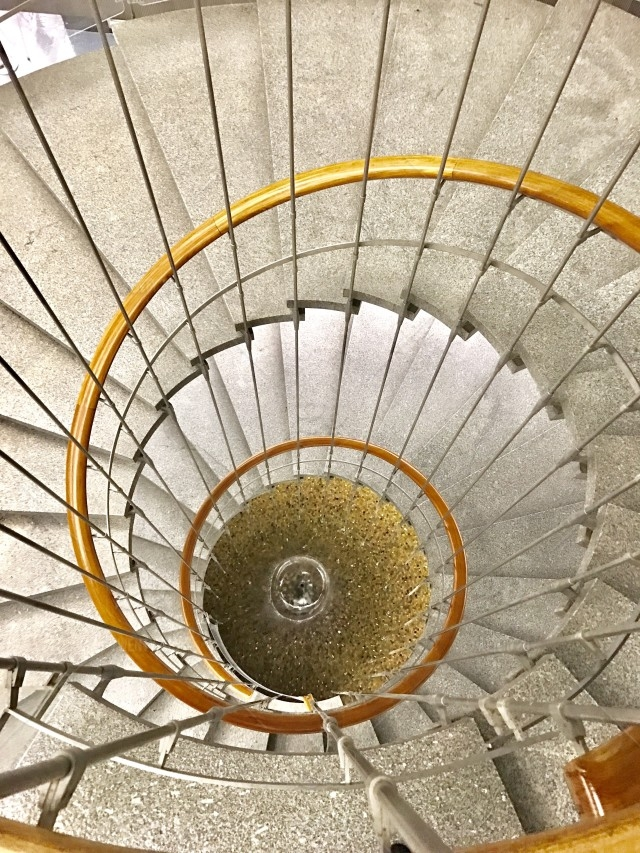 Top View Of Spiral Staircase In The John Ferraro Building Los | Spiral Staircase Los Angeles | Loft | Handrail | 42 Inch | Romantic | Double Spiral