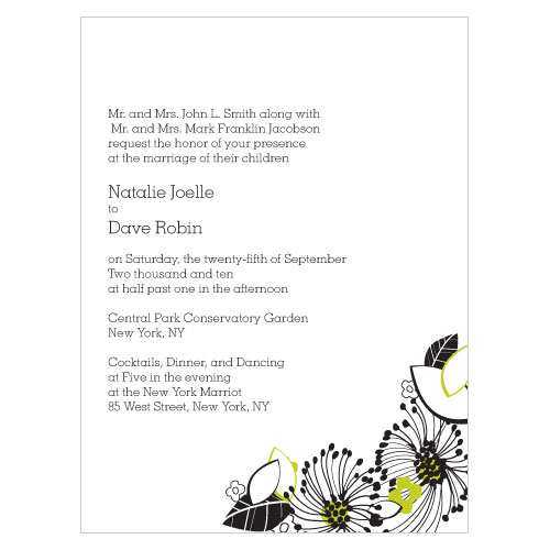 Floral Fusion Invitation Leaf Green