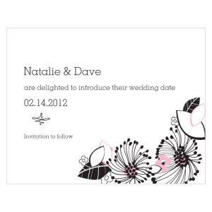Floral Fusion Save The Date Card Pastel Pink