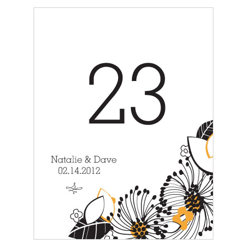 Floral Fusion Table Number Numbers 1-12 Harvest Gold