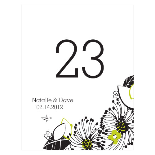 Floral Fusion Table Number Numbers 61-72 Leaf Green