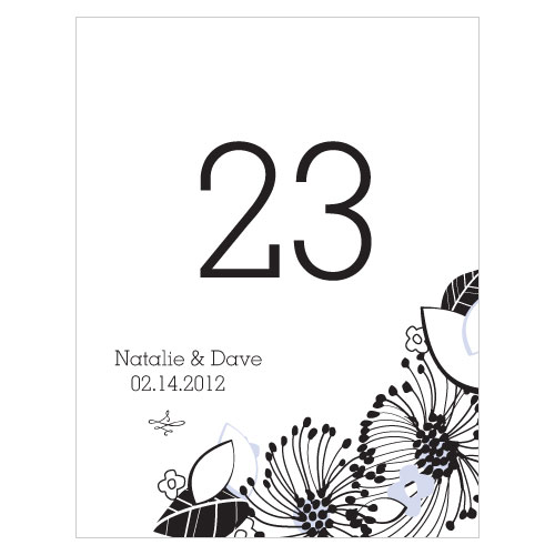 Floral Fusion Table Number Numbers 1-12 Lilac