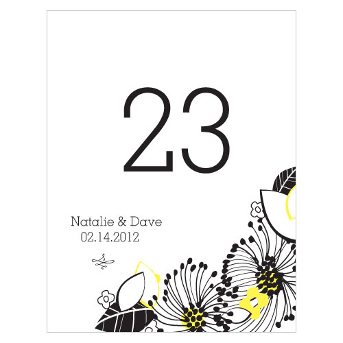Floral Fusion Table Number Numbers 1-12 Lemon Yellow