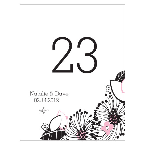 Floral Fusion Table Number Numbers 37-48 Pastel Pink