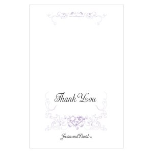 Heart Filigree Thank You Card Lavender