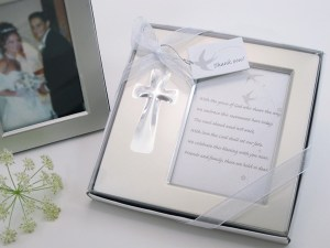 Bless This Day Cross Photo Frame Favor In Gift Box