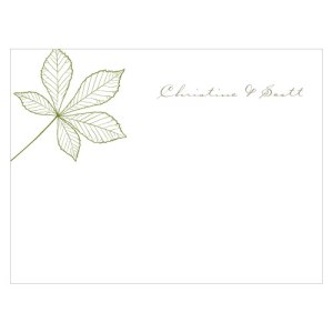 Autumn Leaf Note Card Willow Green